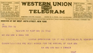 Western Union Telegram Birth Announcement of Sanford Oscar Hess